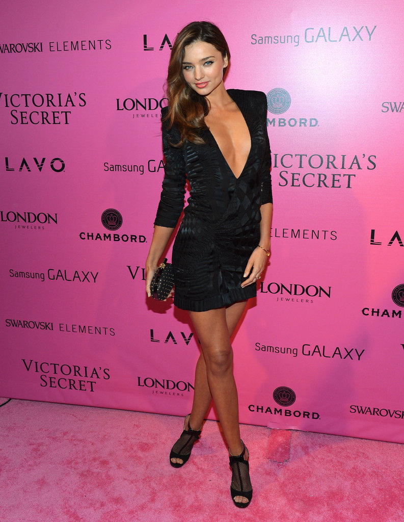 Miranda Kerr made a sexy statement in November at the Victoria's Secret runway show afterparty, wearing a black Balmain mini with a plunging neckline.