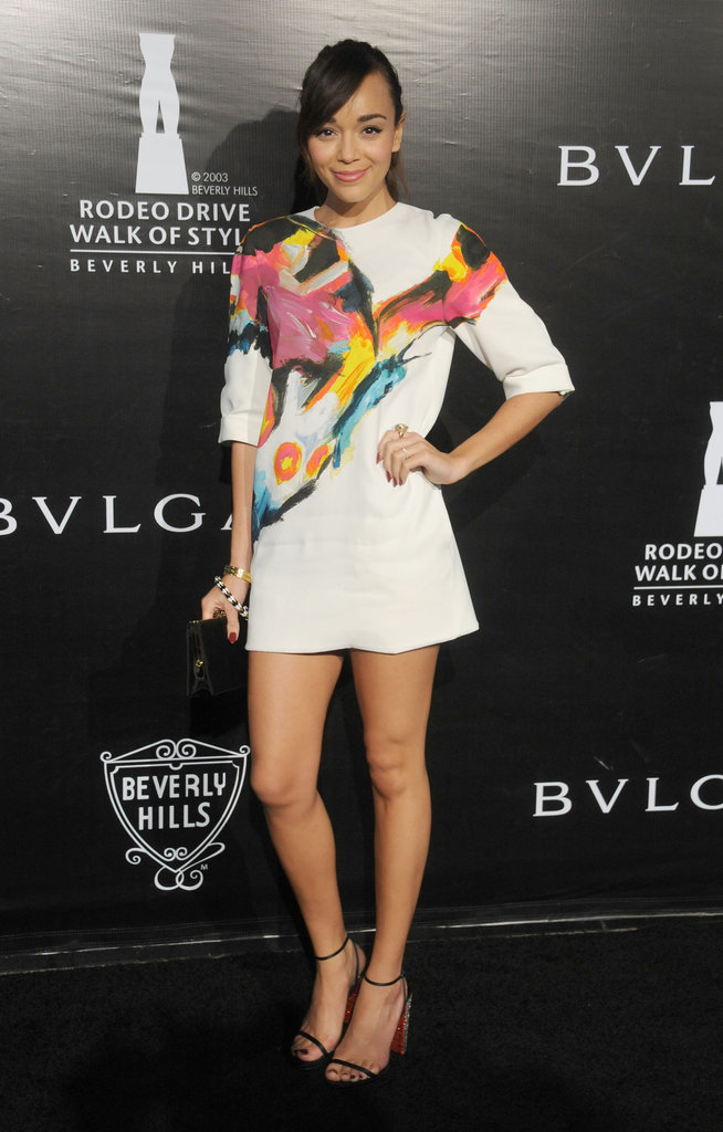 Ashley Madekwe donned a watercolour-print Etro minidress to a Bulgari event in December.