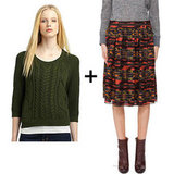We played off the colors in this printed skirt and matched it up with a coordinating green sweater for a winning combination. A pair of brown lace-up booties and a blazer would be the perfect finish.  Get the look:  Design History green cable-knit sweater ($133) Proenza Schouler printed full skirt ($254, originally $845)