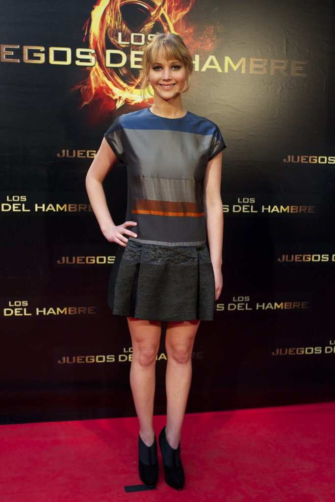 Jennifer Lawrence attended the March premiere of The Hunger Games in a colourblock mini by Victoria Beckham.