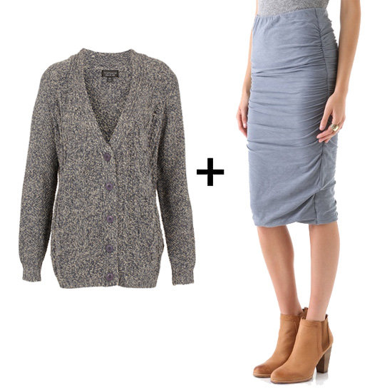As soon as we discovered this ruched skirt, we immediately envisioned it with a chunky cardigan to inject major coziness. An ivory turtleneck underneath would lend even more Fall flair.  Get the look:  Topshop knitted cardigan ($84) James Perse ruched skirt ($165)