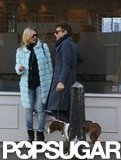 Kate Moss and Jamie Hince chatted while they took a stroll in London with their dog.