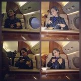 Alicia Keys enjoyed a snack on her plane. Source: Instagram user aliciakeys