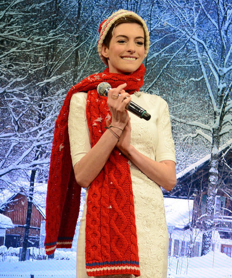 Anne Hathaway sang Christmas carols with Jimmy Fallon.
