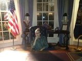 "Rashida Jones sat in the ""Oval Office"" on set of 1600 Penn. Source: Twitter user iamrashidajones"