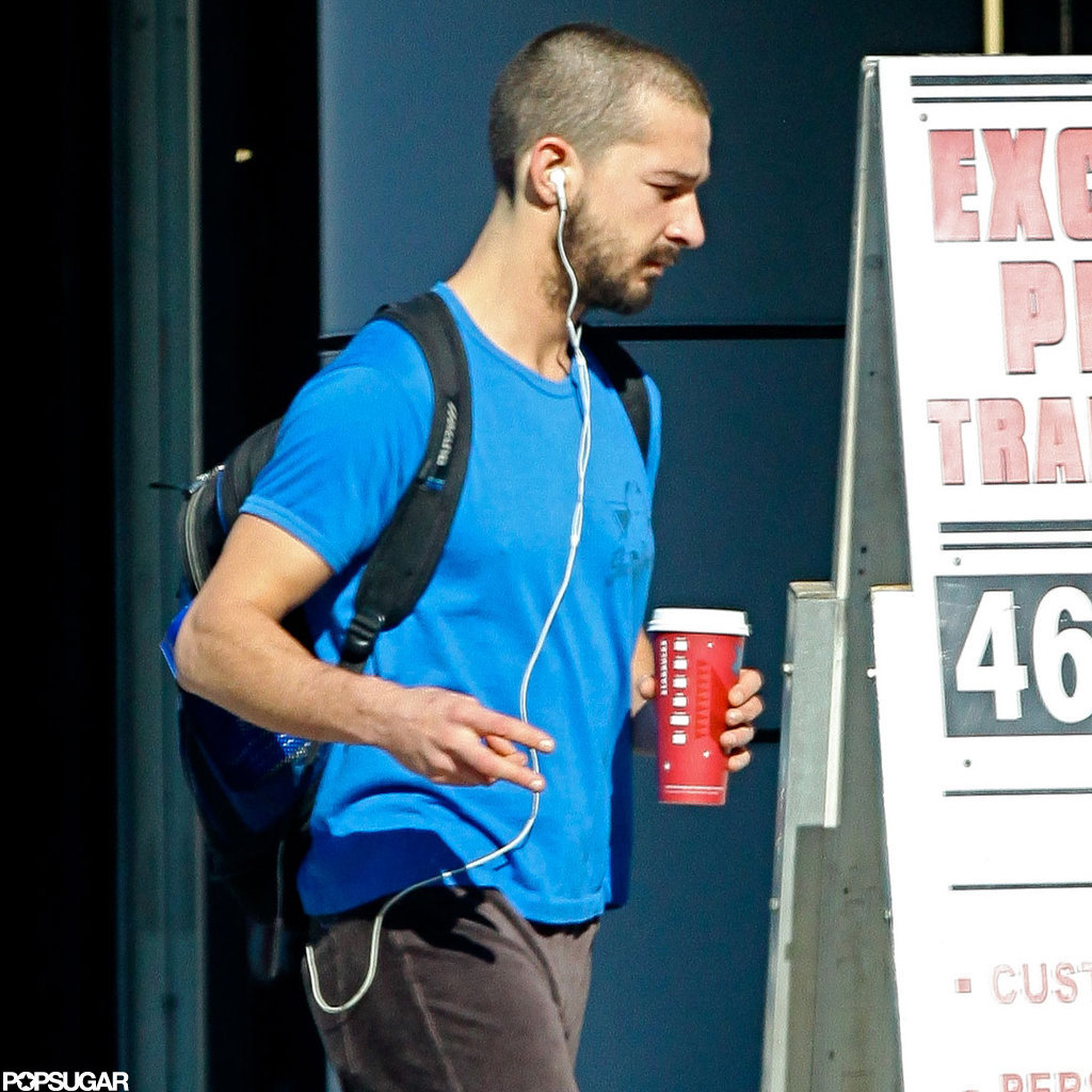 Shia LaBeouf grabbed a coffee after his workout.