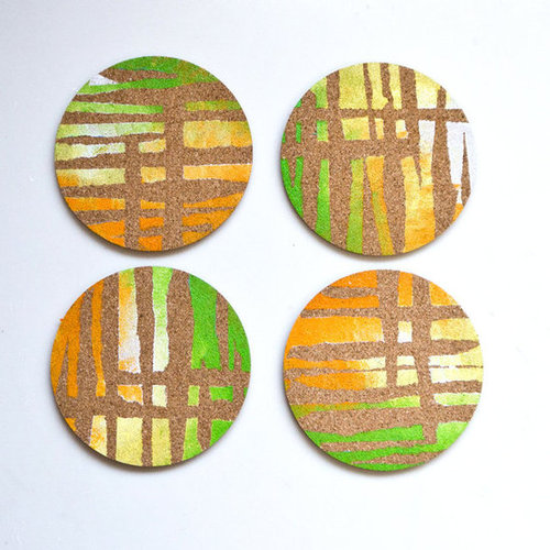 DIY Cork Painted Coasters