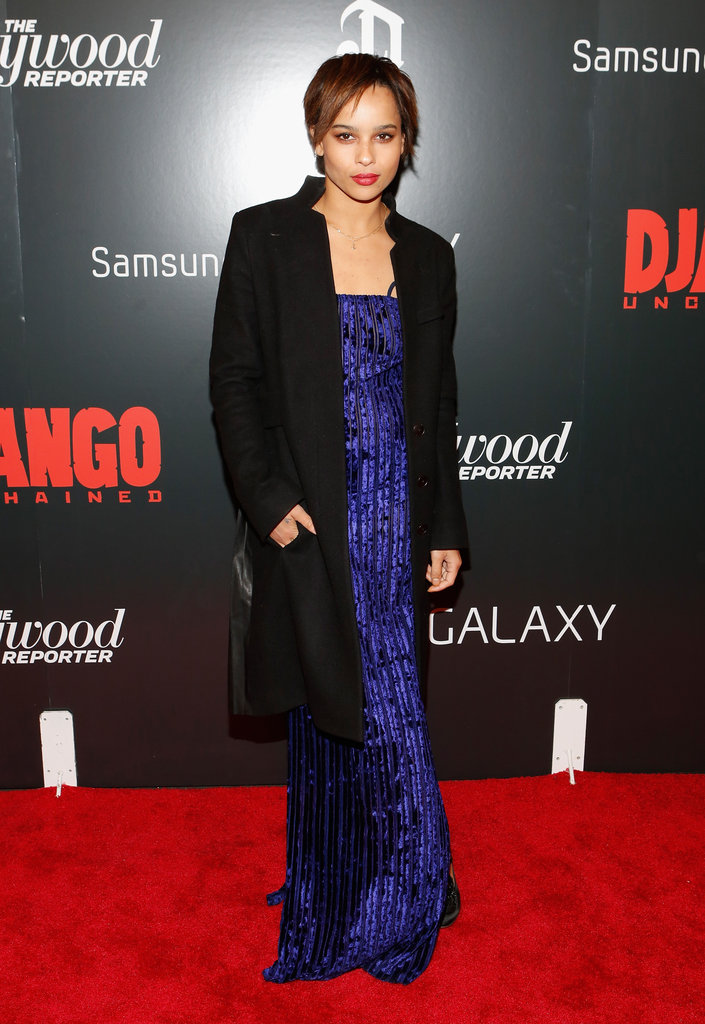 Zoe Kravitz solidified her cool-girl status in a purple gown paired with a long black coat.