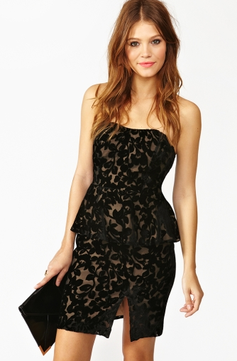 A little sexy and with a little more interest thanks to peplum and burnout detailing, this Nasty Gal Dress ($62, originally $88) is a step up from the average LBD but still has that classic vibe.