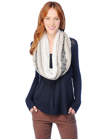 Splendid's Antwerp Infinity Scarf ($74) has a sweet touch of Fair Isle and faux shearling lining that makes it perfectly, festively wintry.