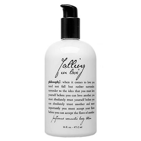 """With notes of vanilla, jasmine, and lily of the valley, Philosophy's """"Falling in Love"""" body lotion ($35) is the perfect pick for a hopeless romantic."""