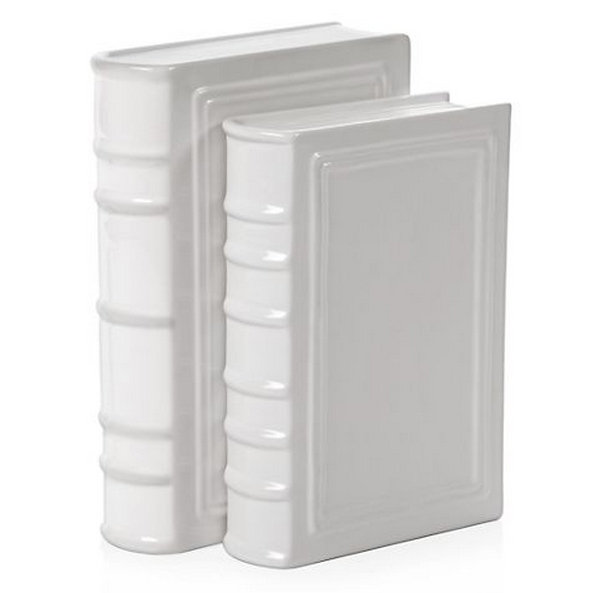 These sleek white ceramic books ($160 for eight) could be used as fun accent pieces or chic bookends.
