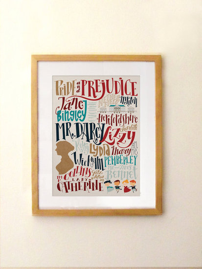 With the names of characters and places from the novel, this modern Pride and Prejudice print ($20) is a cool, eclectic pick.