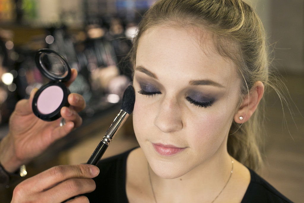 """Blush goes between the highlight and contour,"" Jennings explains. Sweep it on the apples of the cheeks and blend out toward the top of your cheekbones for an uplifting effect.   To complement the deep purple smoky eye, try a lavender blush, like Unconventional ($20). For medium to dark complexions, Jennings recommends the Passionately Tempted shade."
