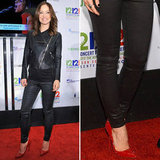 Olivia rocked an all-leather look — cropped moto jacket and ankle-zip pants — with red spiked Christian Louboutin pumps ($1,195) at the 12/12/12 benefit concert in NYC. 9408069