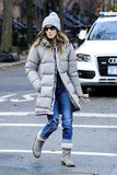 Sarah Jessica Parker bundled up for a walk in NYC.