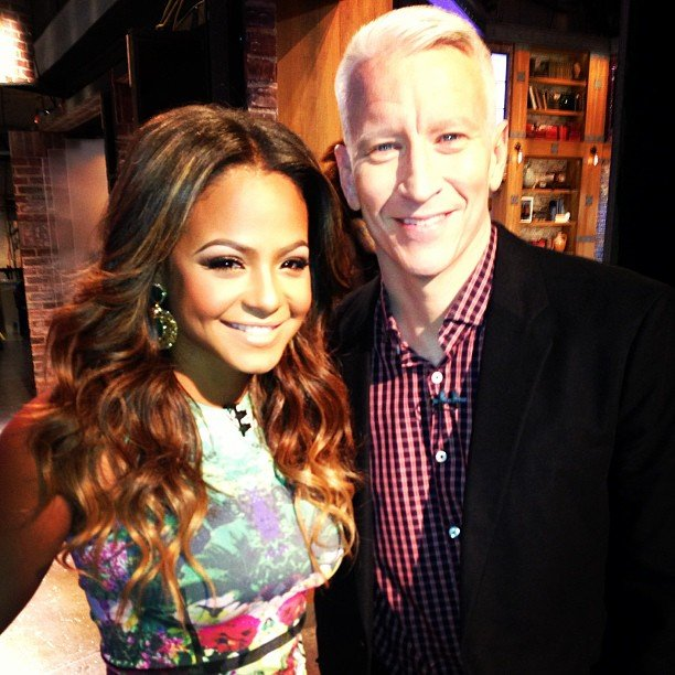 Christina Milian posed with Anderson Cooper before appearing on his talk show. Source: Instagram user christinamilian