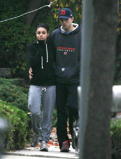 Mila Kunis and Ashton Kutcher went for a walk.