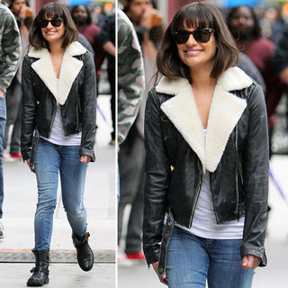 Lea Michele Wears Shearling Biker Jacket in LA