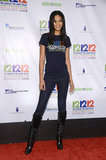 Chanel Iman showed her support in the 12-12-12 Concert tee, styled up with skinny jeans and knee-high boots.