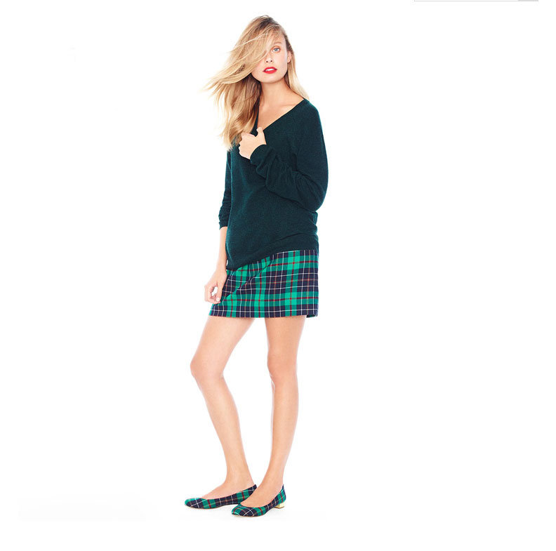 Preppy plaid is easy to wear on a miniskirt and heels — and even makes matching look chic. The trick is balancing it out with a slouchy pullover (take note: a button-down and blazer will make this look feel like a prep-school uniform).