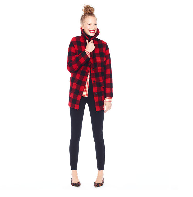 "Embrace seasonal patterns in unexpected ways, like echoing the classic checks in Tartan plaid with checks on your button-down. Sleek bottoms and chic flats offer a smart counter to the heavy plaid, lest you should make any literal references to ""lumberjack"" styling."