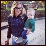 Luca Comrie enjoyed some mommy time at the local playground. Source: Twitter user HilaryDuff