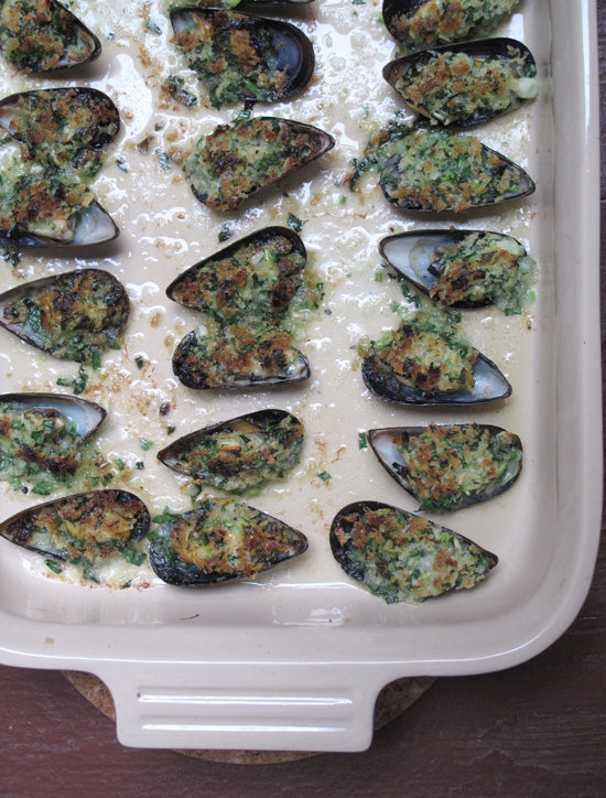 Julia Child's Gratinéed Mussels
