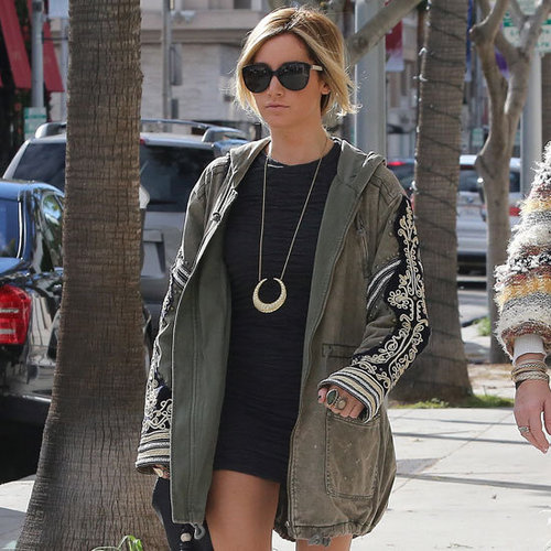 Ashley Tisdale Wearing Aztec-Print Ankle Boots