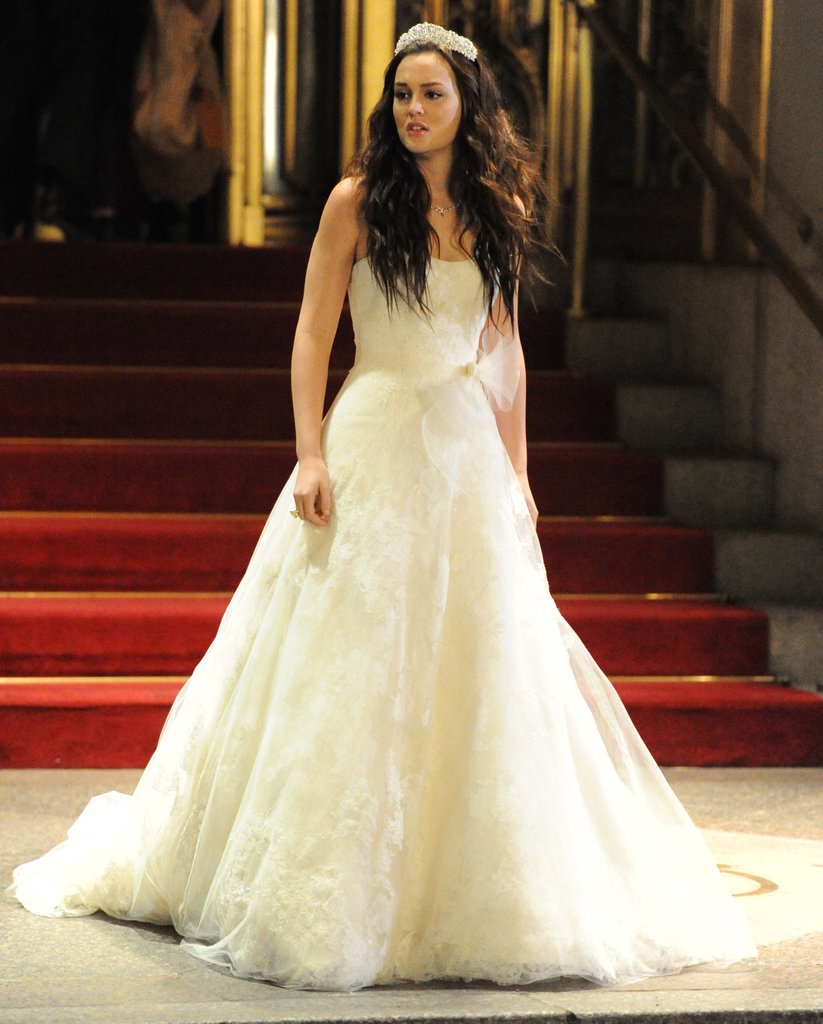 Leighton Meester modeled a white wedding dress during a November 2011 shoot of a pivotal scene.