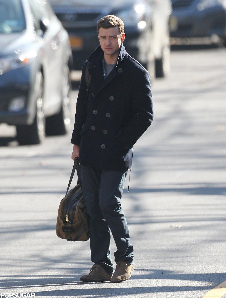 Justin Timberlake kept warm in a peacoat.