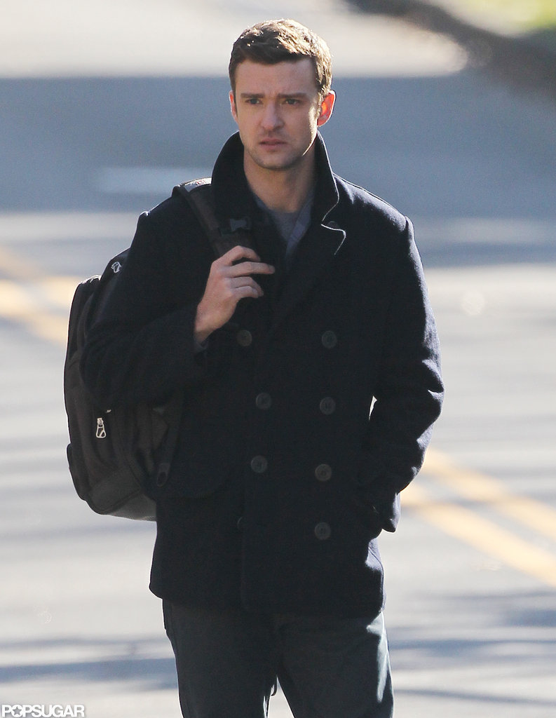 Justin Timberlake toted a backpack on the set.