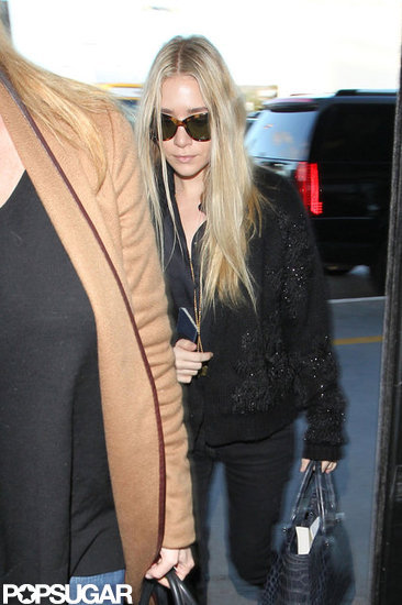 Ashley Olsen carried a blue The Row bag in LA.