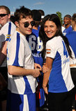 Ed Westwick and Jessica Szohr suited up for a celebrity flag football event held in Miami in February 2010.