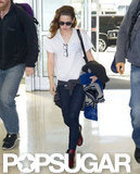 Kristen Stewart went casual for her trip to the airport.