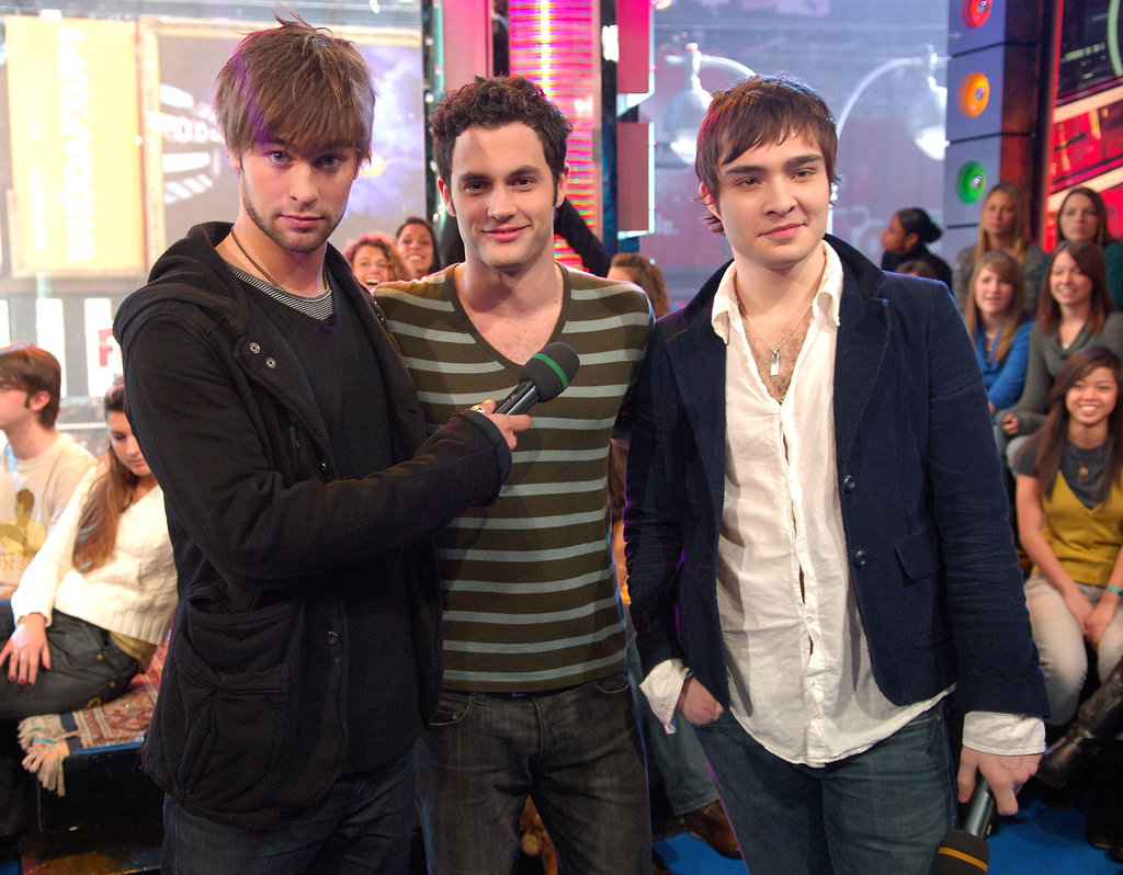 Chace Crawford, Penn Badgley and Ed Westwick dropped by NYC's TRL studios in December 2007.