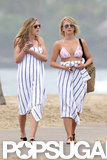 Julianne Hough and a friend left the beach.