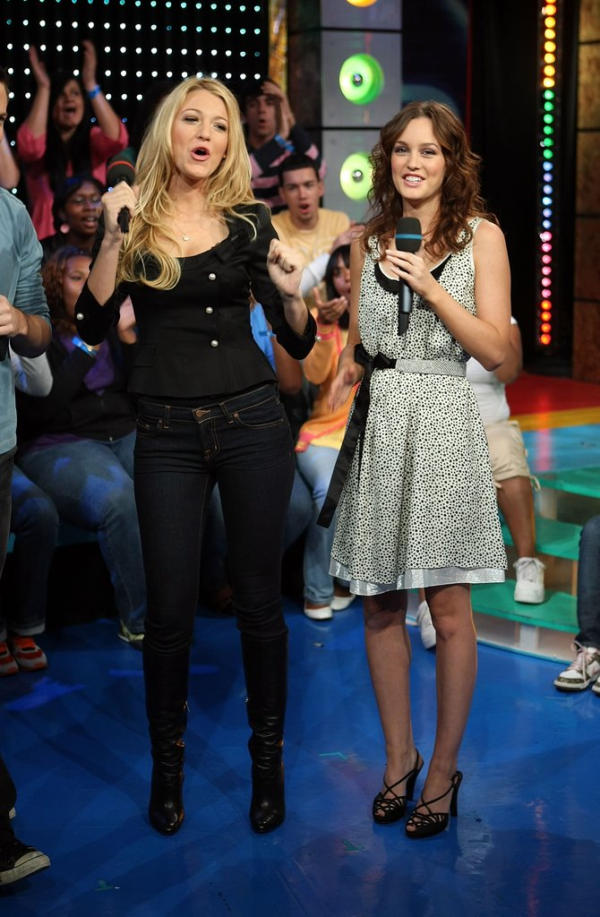 Blake Lively and Leighton Meester let loose during a visit to MTV's TRL in October 2007.
