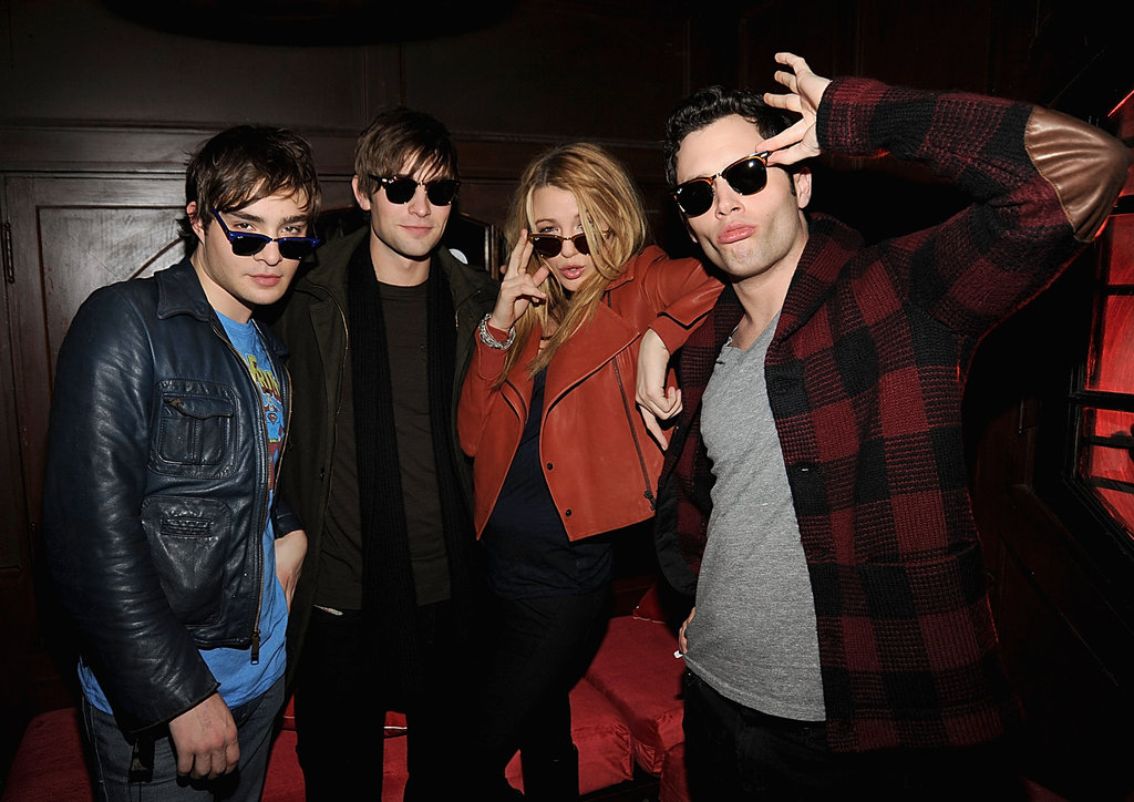 Ed Westwick, Chace Crawford, Blake Lively, and Penn Badgley wore their sunglasses at night during a December 2008 event thrown in NYC.