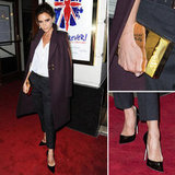 Channel Victoria Beckham's posh coat and clutch combo.
