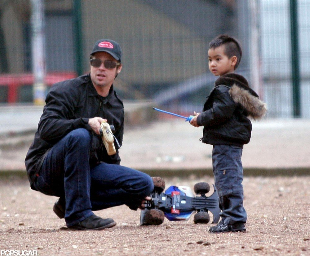 Brad Pitt and Maddox played with remote-control cars during a February 2005 trip to Paris.
