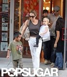 In September 2007, Angelina Jolie shopped in NYC with Maddox and Shiloh. Brad Pitt and Pax followed behind.