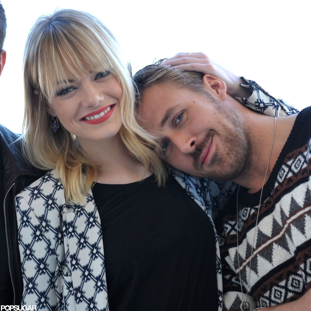 Emma Stone and Ryan Gosling smiled for the camera in LA.