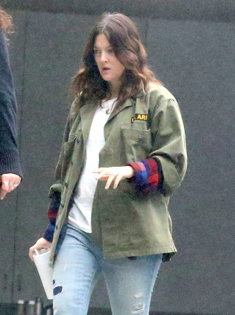 Drew Barrymore stepped out solo to visit a studio in Beverly Hills yesterday.