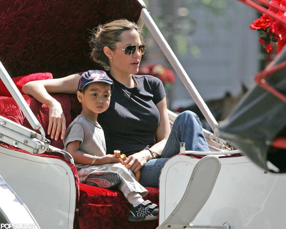 Maddox and Angelina Jolie took a carriage ride around NYC in April 2005.
