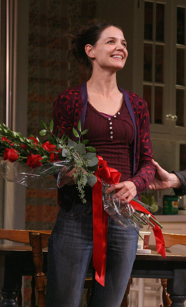 In November 2012, Katie Holmes was presented with flowers after the opening performance of her Broadway show, Dead Accounts, in NYC.