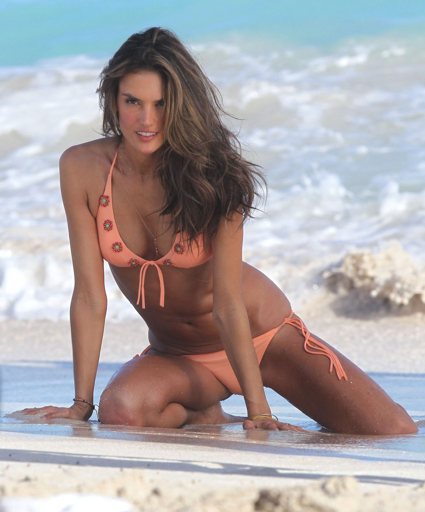 Alessandra Ambrosio Hits the St. Barts Beach Wearing a String of Bikinis