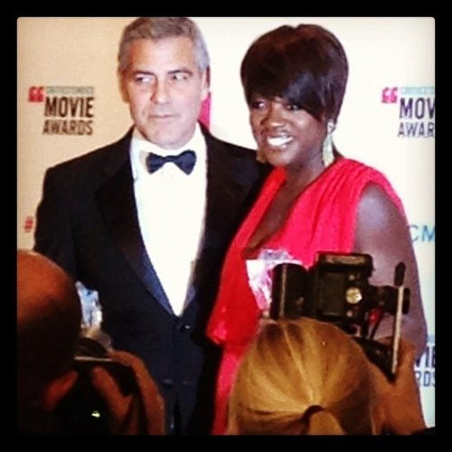 Two winners in one! We took a picture of George Clooney and Viola Davis as they celebrated their dual honors backstage at the Critics' Choice Awards.