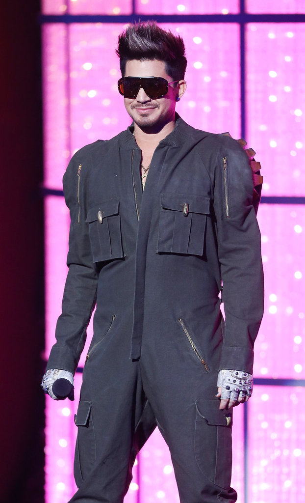 Adam Lambert appeared onstage in a jumpsuit.