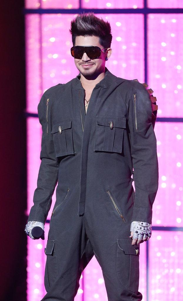 Adam Lambert appeared onstage in a jumpsuit.